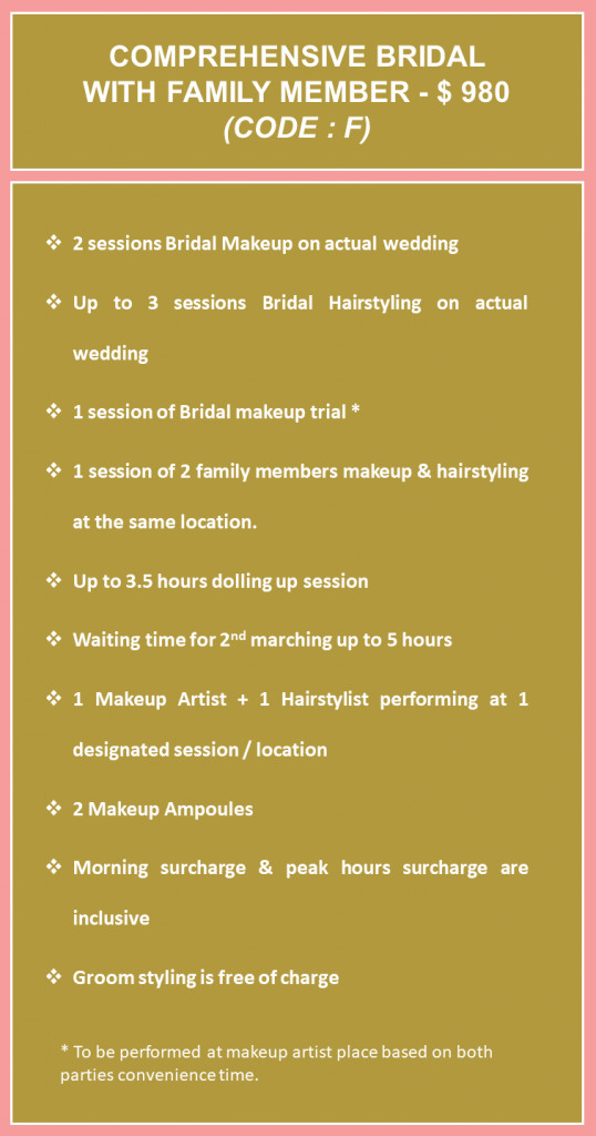 Bridal Makeup Rates with Family members